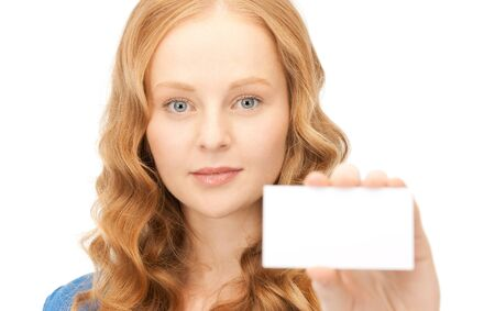 confident woman with business card over white Stock Photo - 8459650