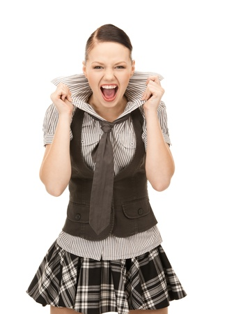 bright picture of screaming teenage girl over white Stock Photo - 8457320