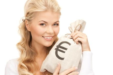 happy rich woman: Foto di donna con euro firmato sacchetto