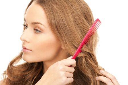 bright picture of beautiful woman with comb Stock Photo - 8548630