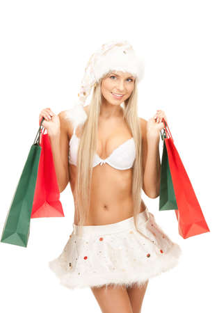 picture of cheerful santa helper with shopping bags Stock Photo - 8548614