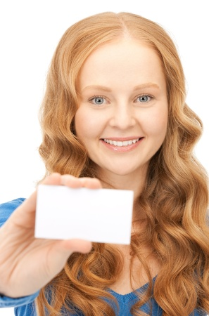 happy woman with business card over white Stock Photo - 8548626