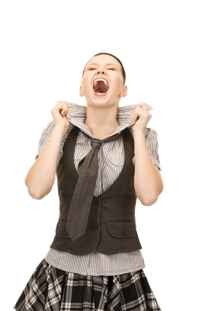 wicked problem: bright picture of screaming teenage girl over white