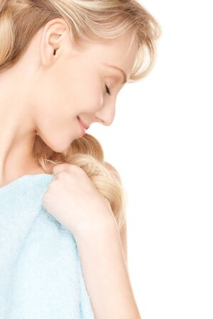 bright picture of lovely woman in towel over white Stock Photo - 16573565