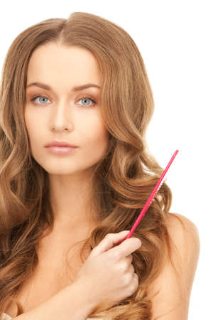 bright picture of beautiful woman with comb Stock Photo - 8628137