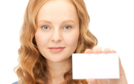 notecard: confident woman with business card over white  Stock Photo