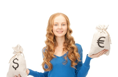 picture of woman with euro and dollar bags  photo