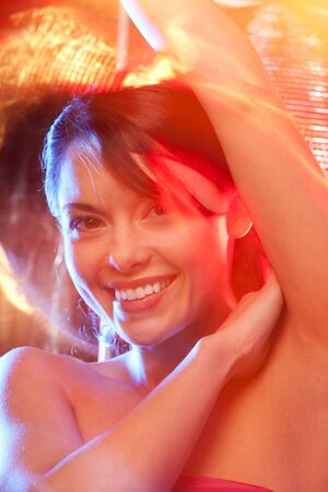 colorful picture of happy party girl in the club Stock Photo - 8520020