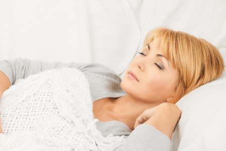 bright closeup picture of sleeping woman face  Stock Photo