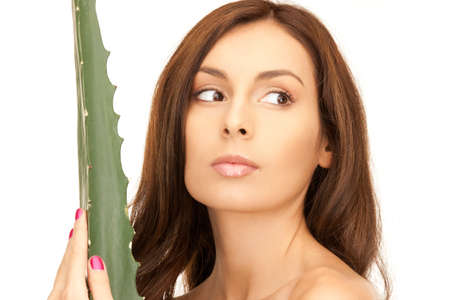 picture of lovely woman with aloe vera photo