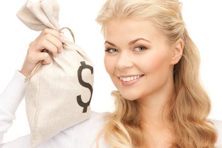 cash money: imagen de mujer con d�lar firmado bolsa Foto de archivo