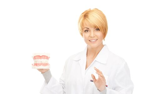 picture of attractive female doctor with jaws photo