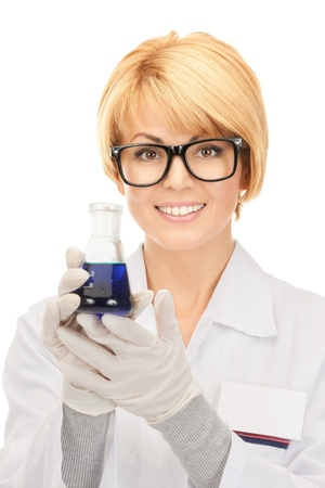 picture of beautiful lab worker holding up test tube  photo