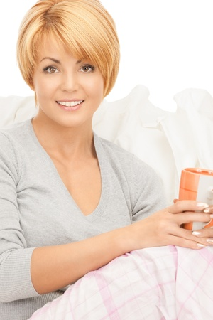 bright picture of lovely woman with cup  photo