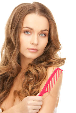 bright picture of beautiful woman with comb Stock Photo - 8740472