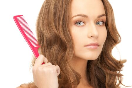 bright picture of beautiful woman with comb Stock Photo - 8740579