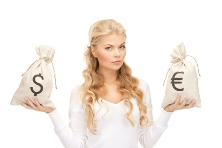 picture of woman with euro and dollar bags