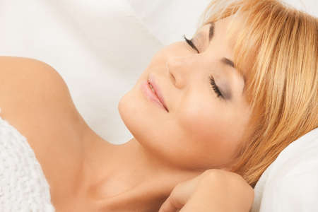 bright closeup picture of sleeping woman face Stock Photo - 8740715