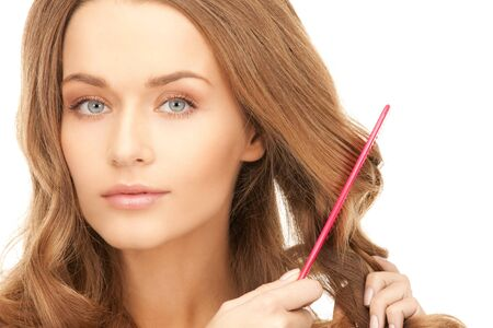 bright picture of beautiful woman with comb Stock Photo - 8740701