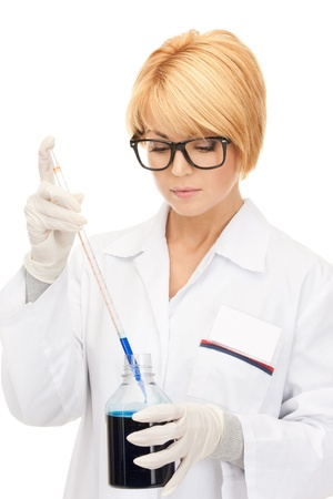 picture of beautiful lab worker holding up test tube Stock Photo - 8740787