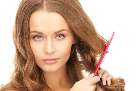 bright picture of beautiful woman with comb photo