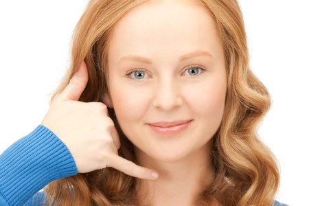 picture of lovely woman making a call me gesture Stock Photo - 8740812