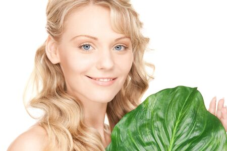 picture of woman with green leaf over white Stock Photo - 8740998