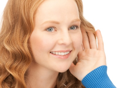 bright picture of young woman listening gossip Stock Photo - 8741086