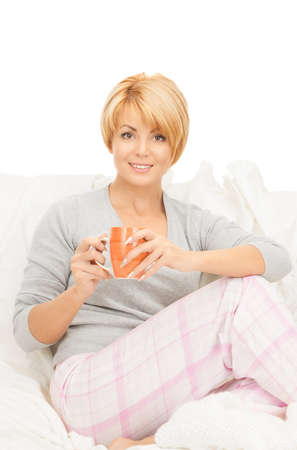 bright picture of lovely woman with cup Stock Photo - 8865084