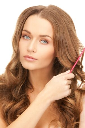 bright picture of beautiful woman with comb Stock Photo - 8862264