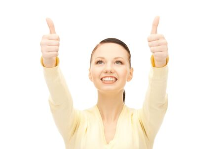 bright picture of lovely teenage girl with thumbs up Stock Photo - 8866273
