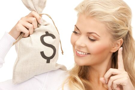 picture of woman with dollar signed bag Stock Photo - 8862639