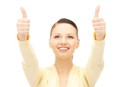 bright picture of lovely teenage girl with thumbs up Stock Photo - 8867269