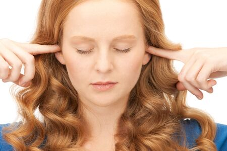 picture of woman with fingers in ears Stock Photo - 8866368