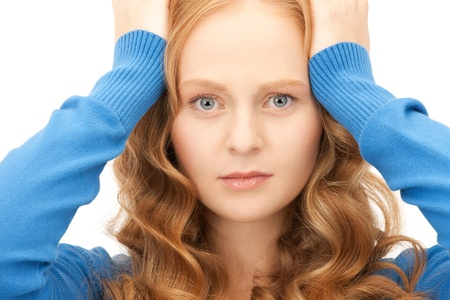 bright picture of unhappy woman over white Stock Photo - 8866436