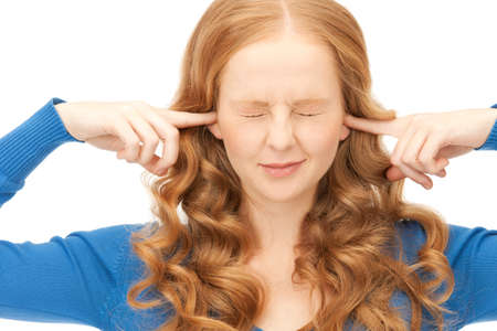 picture of woman with fingers in ears Stock Photo - 8866450