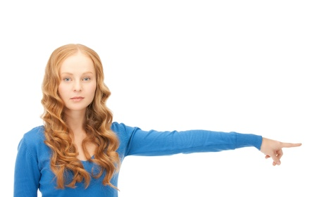 picking fingers: picture of attractive businesswoman pointing her finger  Stock Photo