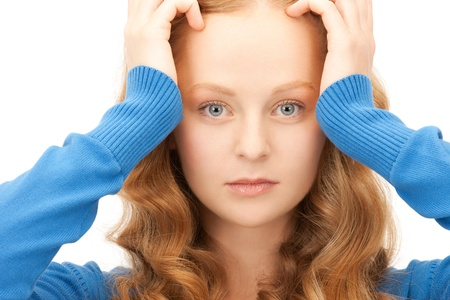 bright picture of unhappy woman over white Stock Photo - 9545846