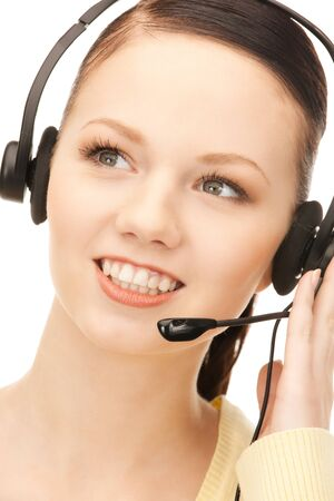 bright picture of friendly female helpline operator  Stock Photo - 8867353