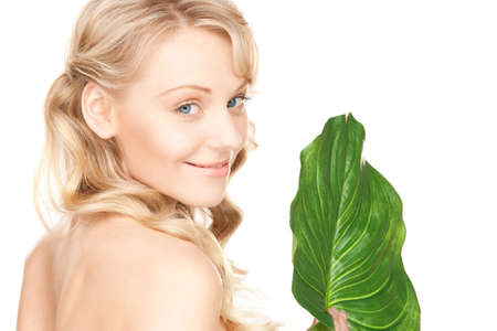 picture of woman with green leaf over white Stock Photo - 8866550