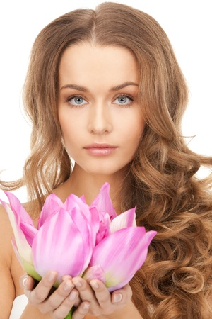 picture of beautiful woman with Lotus flower Stock Photo - 8867402