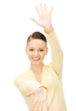 bright picture of happy woman showing her palms  photo