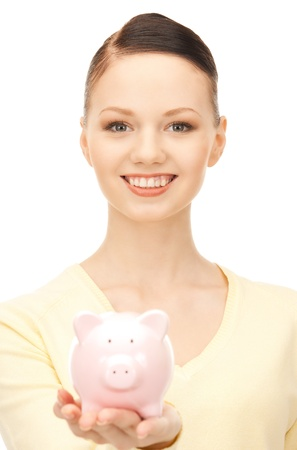 picture of lovely woman with piggy bank Stock Photo - 8868005