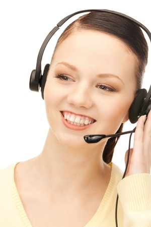 bright picture of friendly female helpline operator    photo