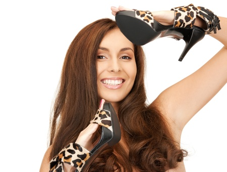 bright picture of lovely woman with leopard shoes  photo