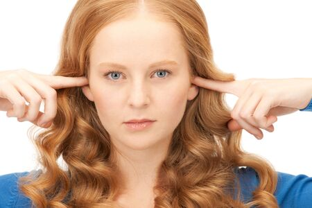 picture of woman with fingers in ears Stock Photo - 8867464