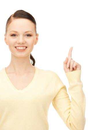 picture of attractive young woman with her finger up Stock Photo - 8981601