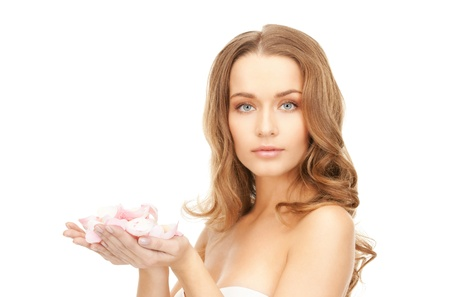 picture of beautiful woman with rose petals  photo