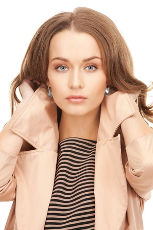 bright picture of lovely woman in coat Stock Photo - 8981982