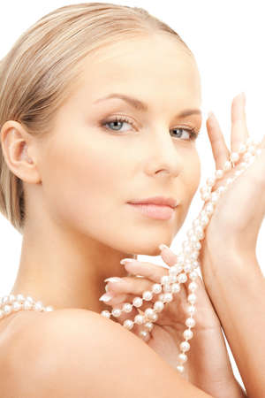 picture of beautiful woman with pearl beads  photo